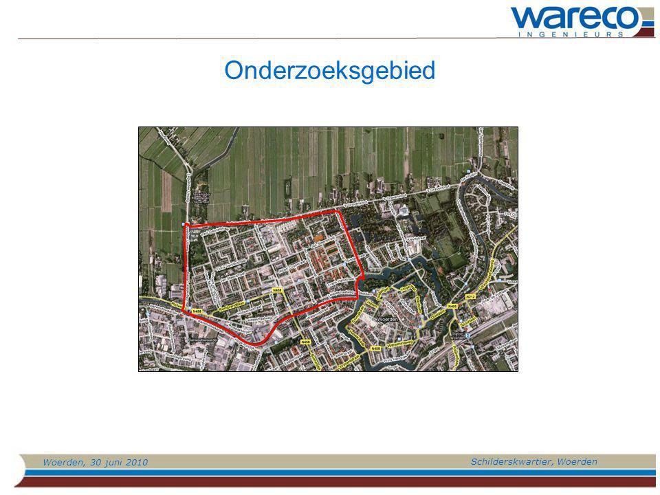 Woerden, 30 juni 2010 Schilderskwartier, Woerden Doel onderzoek: -Bepalen risico-gebied ivm lage grondwaterstanden -Bepalen mogelijkheden voor aanpak Welke zaken zijn van belang.