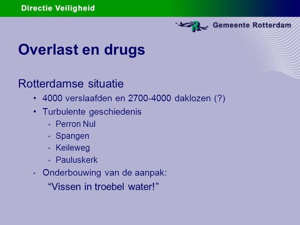 Overlast en drugs Rotterdamse situatie 4000 verslaafden en 2700-4000 daklozen (?) Turbulente geschiedenis Perron Nul Spangen Keileweg Pauluskerk Onder