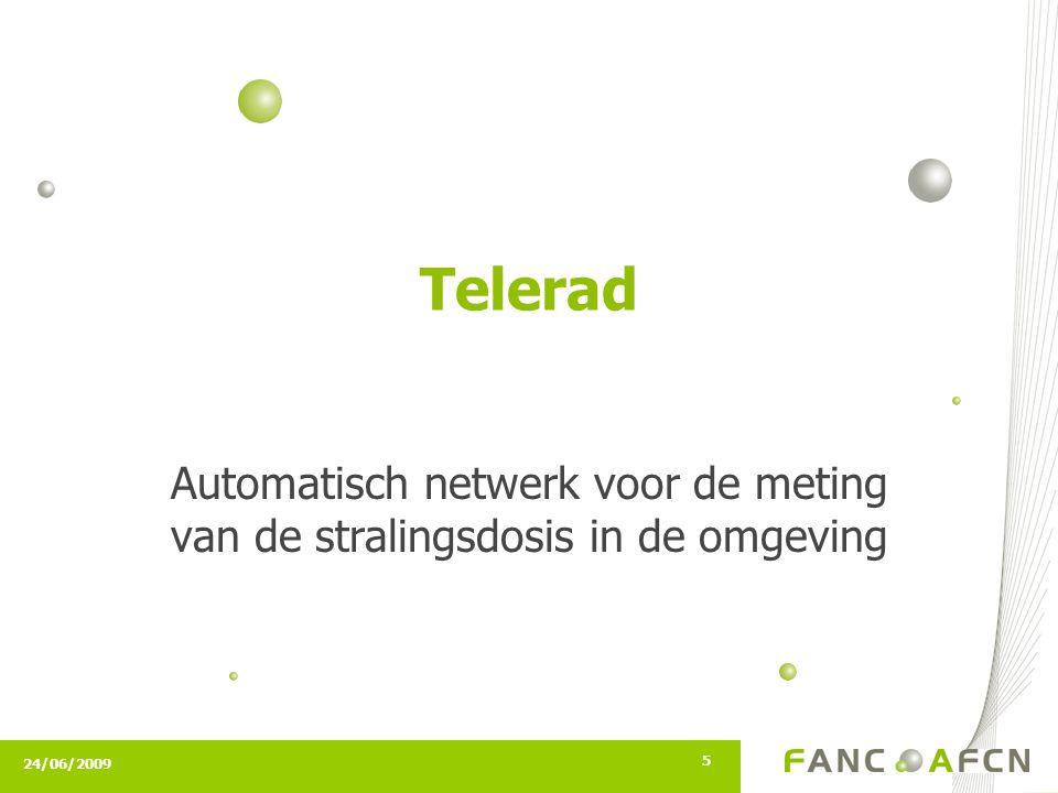 24/06/2009 5 Telerad Automatisch netwerk voor de meting van de stralingsdosis in de omgeving