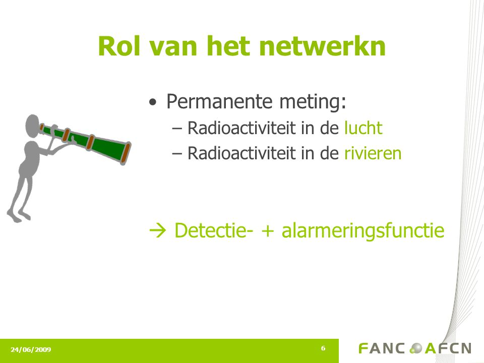 24/06/2009 6 Rol van het netwerkn Permanente meting: –Radioactiviteit in de lucht –Radioactiviteit in de rivieren  Detectie- + alarmeringsfunctie