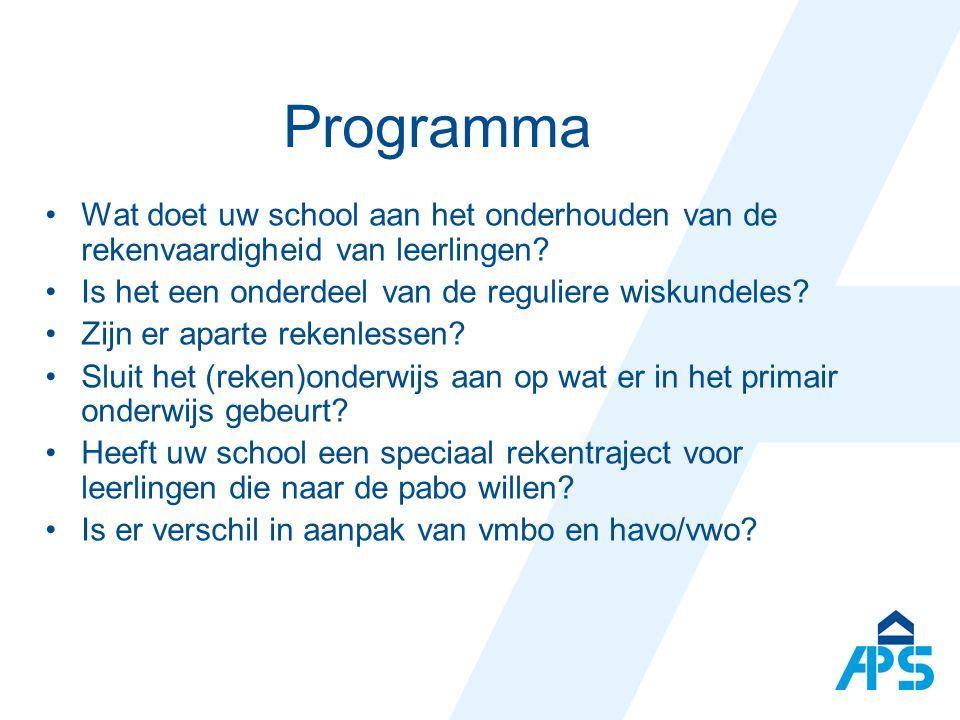 Programma Wat doet uw school aan het onderhouden van de rekenvaardigheid van leerlingen.