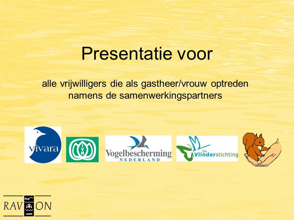 Presentatie voor alle vrijwilligers die als gastheer/vrouw optreden namens de samenwerkingspartners