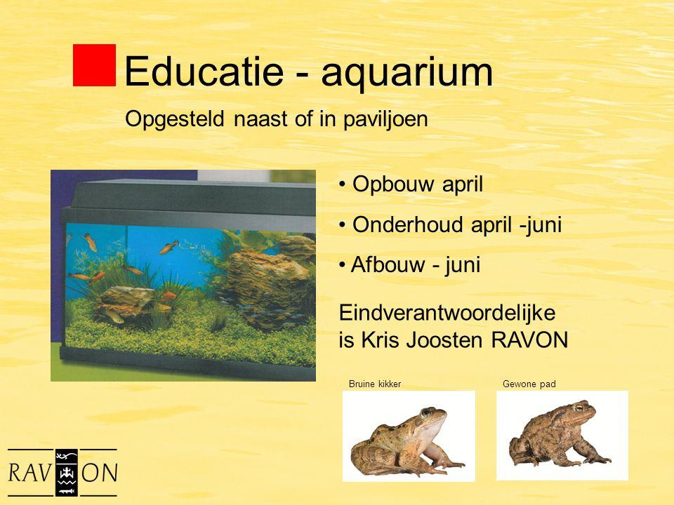 Educatie - aquarium Opbouw april Onderhoud april -juni Afbouw - juni Eindverantwoordelijke is Kris Joosten RAVON Opgesteld naast of in paviljoen Bruin