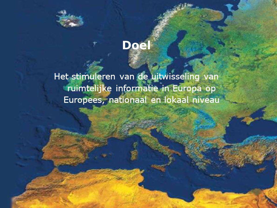 ProGideon Doel Het stimuleren van de uitwisseling van ruimtelijke informatie in Europa op Europees, nationaal en lokaal niveau