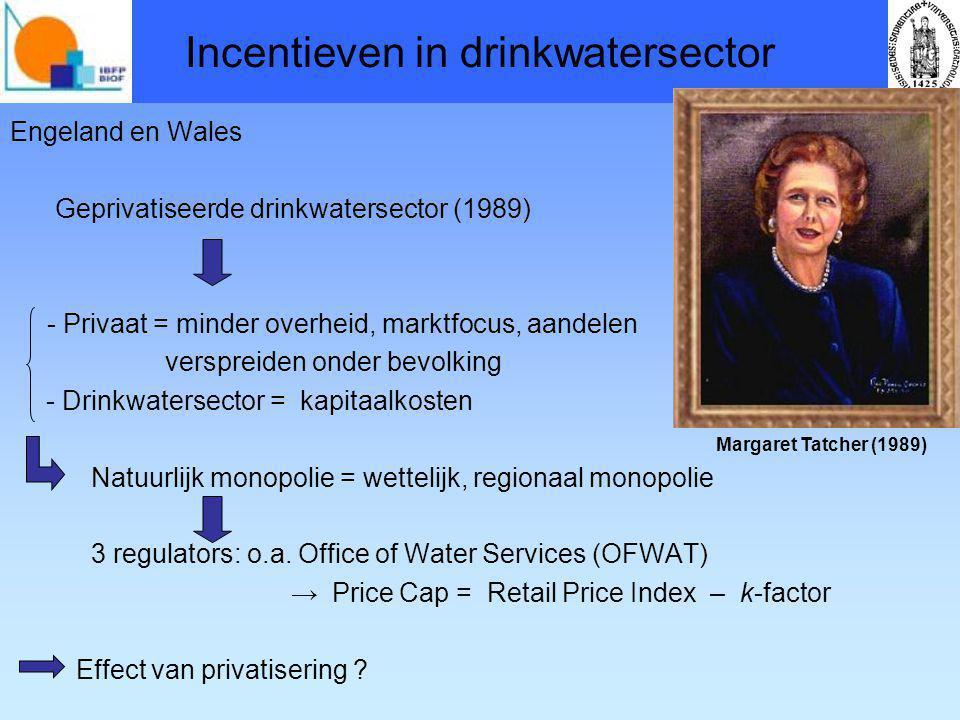 Incentieven in drinkwatersector Engeland en Wales Geprivatiseerde drinkwatersector (1989) - Privaat = minder overheid, marktfocus, aandelen verspreiden onder bevolking - Drinkwatersector = kapitaalkosten Natuurlijk monopolie = wettelijk, regionaal monopolie 3 regulators: o.a.