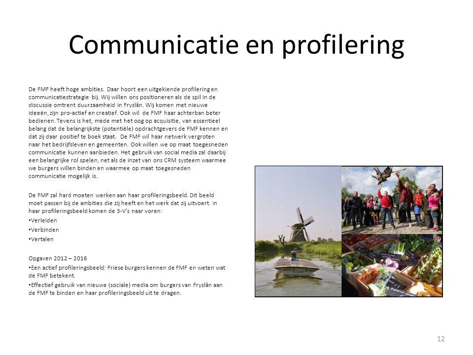Communicatie en profilering De FMF heeft hoge ambities. Daar hoort een uitgekiende profilering en communicatiestrategie bij. Wij willen ons positioner