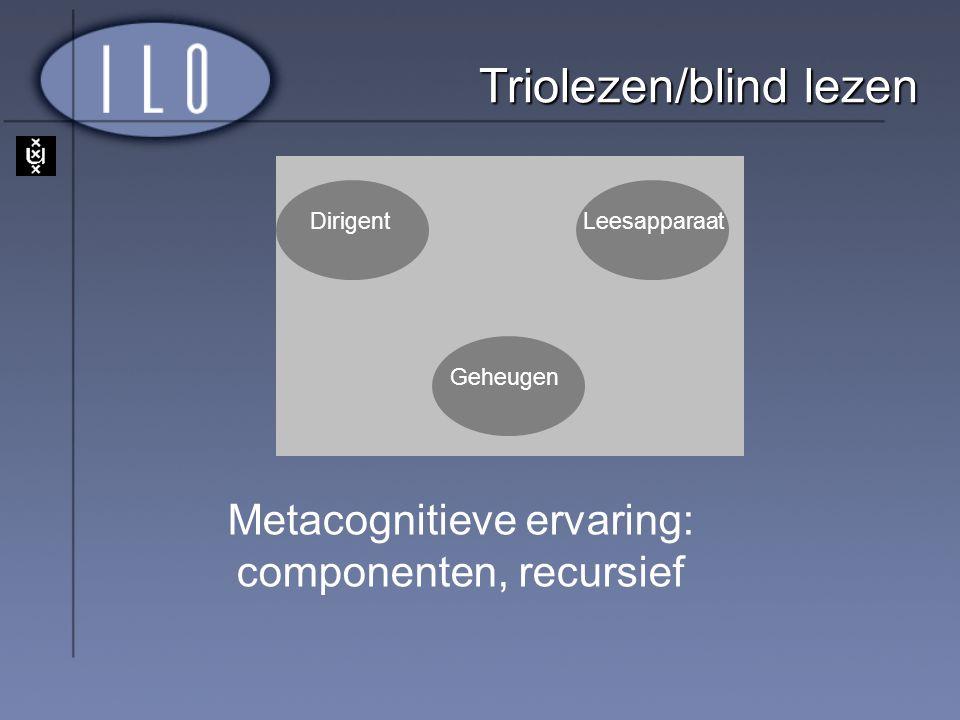 DirigentLeesapparaat Geheugen Triolezen/blind lezen Metacognitieve ervaring: componenten, recursief