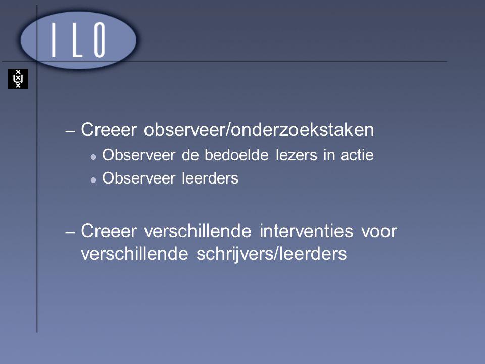– Creeer observeer/onderzoekstaken Observeer de bedoelde lezers in actie Observeer leerders – Creeer verschillende interventies voor verschillende sch