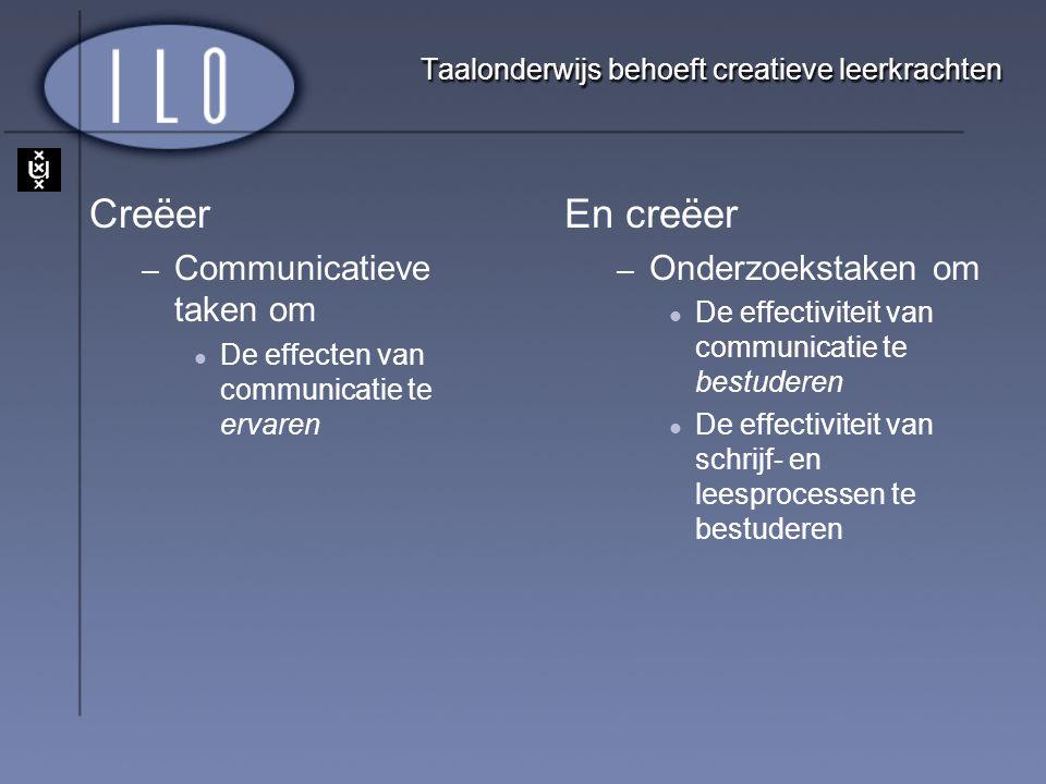 Taalonderwijs behoeft creatieve leerkrachten Creëer – Communicatieve taken om De effecten van communicatie te ervaren En creëer – Onderzoekstaken om D