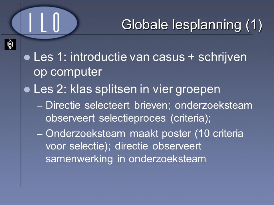 Globale lesplanning (1) Les 1: introductie van casus + schrijven op computer Les 2: klas splitsen in vier groepen – Directie selecteert brieven; onder