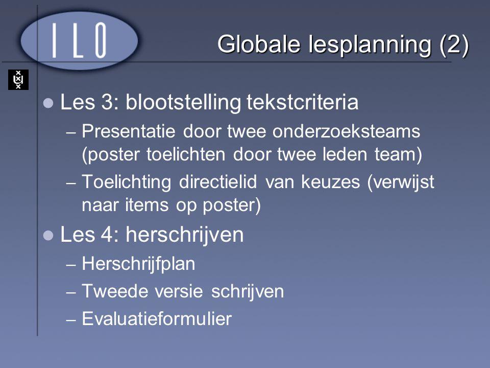 Globale lesplanning (2) Les 3: blootstelling tekstcriteria – Presentatie door twee onderzoeksteams (poster toelichten door twee leden team) – Toelicht