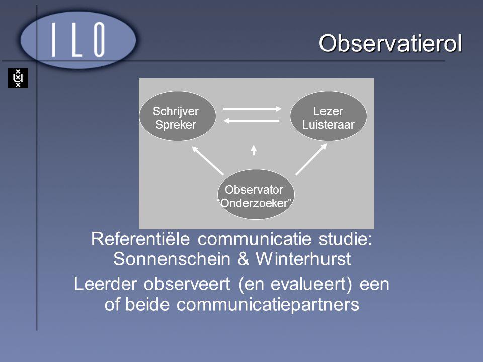 """Schrijver Spreker Lezer Luisteraar Observator """"Onderzoeker"""" Observatierol Referentiële communicatie studie: Sonnenschein & Winterhurst Leerder observe"""