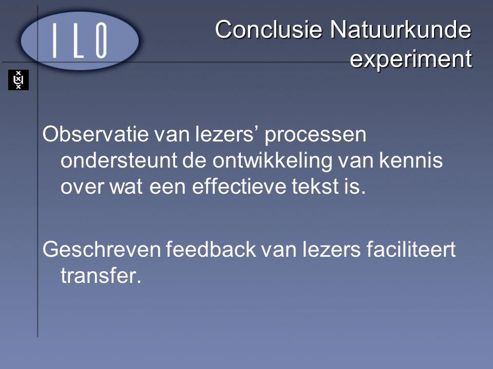 Conclusie Natuurkunde experiment Observatie van lezers' processen ondersteunt de ontwikkeling van kennis over wat een effectieve tekst is. Geschreven