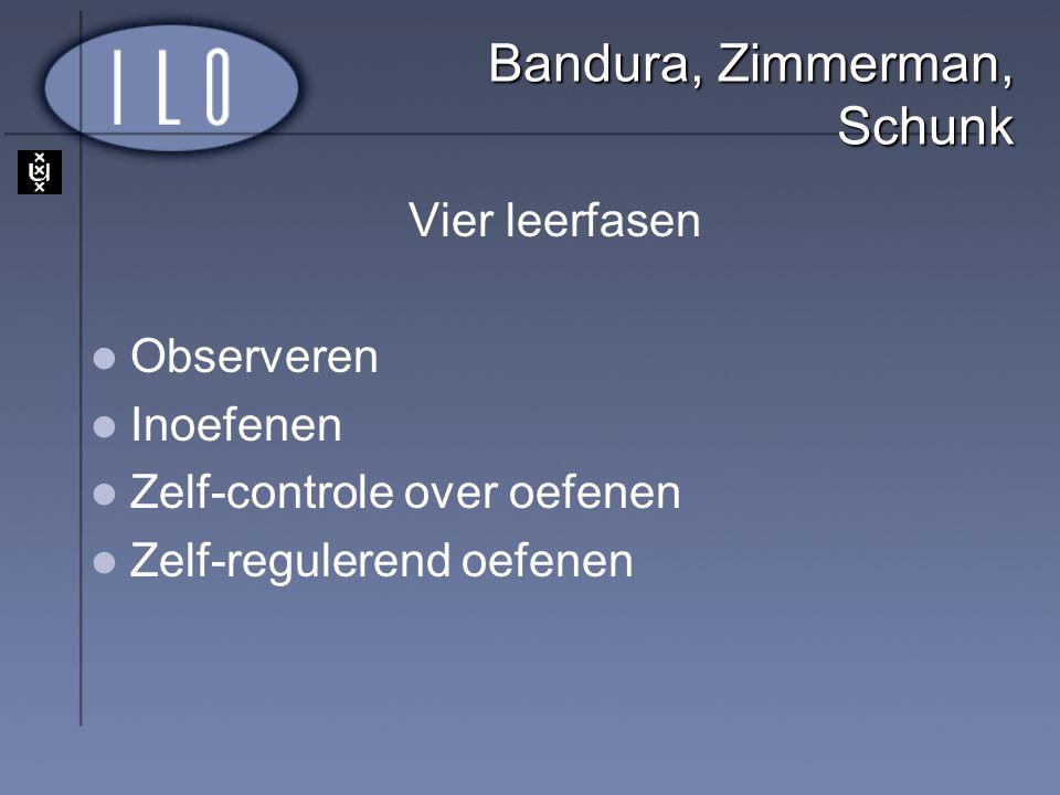 Bandura, Zimmerman, Schunk Vier leerfasen Observeren Inoefenen Zelf-controle over oefenen Zelf-regulerend oefenen