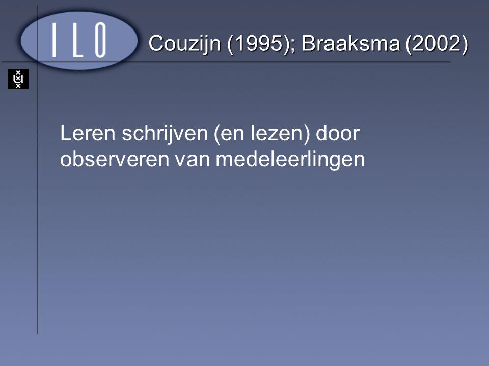 Couzijn (1995); Braaksma (2002) Leren schrijven (en lezen) door observeren van medeleerlingen