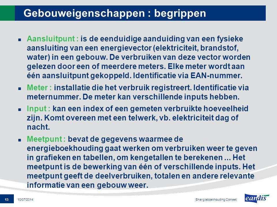 13 Energieboekhouding Comeet 10/07/2014 Gebouweigenschappen : begrippen Aansluitpunt : is de eenduidige aanduiding van een fysieke aansluiting van een