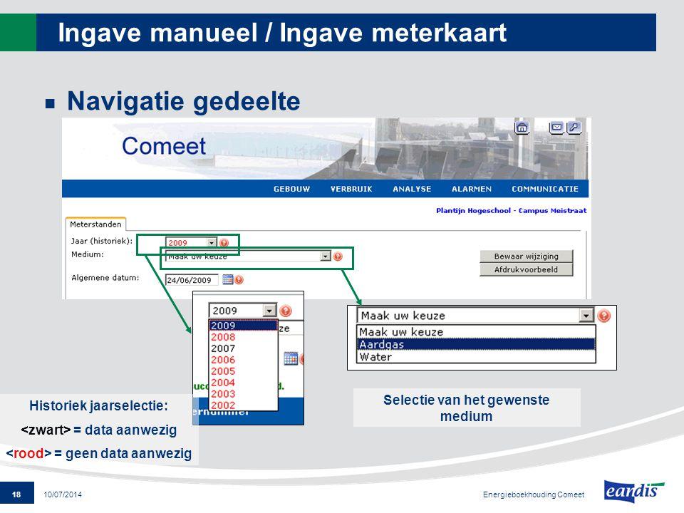 18 Energieboekhouding Comeet 10/07/2014 Ingave manueel / Ingave meterkaart Navigatie gedeelte Selectie van het gewenste medium Historiek jaarselectie: