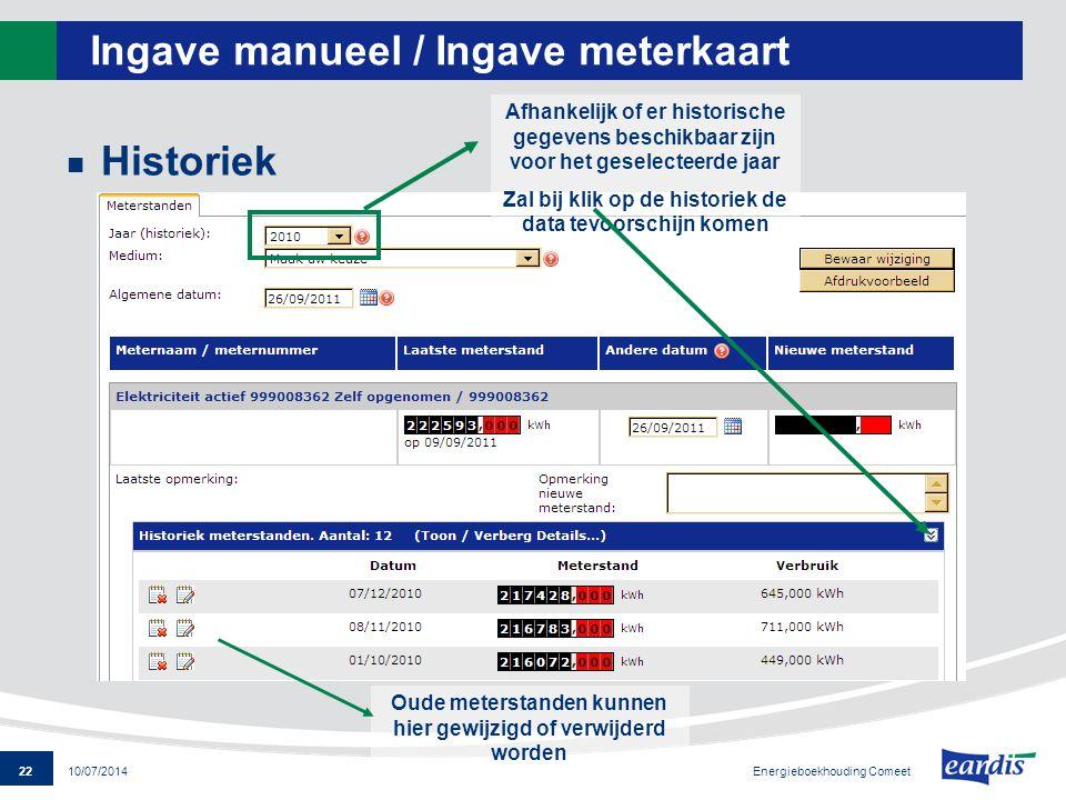 22 Energieboekhouding Comeet 10/07/2014 Ingave manueel / Ingave meterkaart Historiek Afhankelijk of er historische gegevens beschikbaar zijn voor het