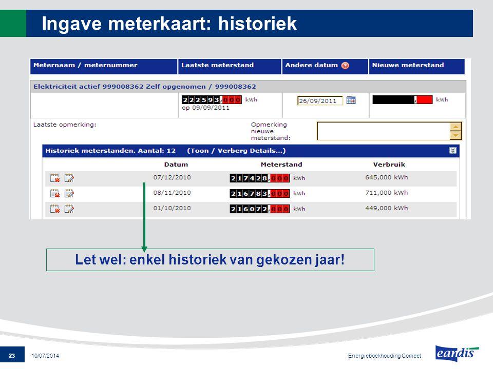 23 Energieboekhouding Comeet 10/07/2014 Ingave meterkaart: historiek Let wel: enkel historiek van gekozen jaar!