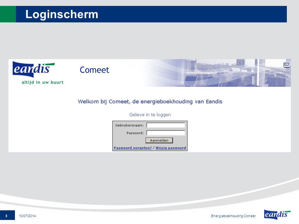 14 Energieboekhouding Comeet 10/07/2014 Gebouweigenschappen : aansluitpunt Boomstructuur EAN meternummer input