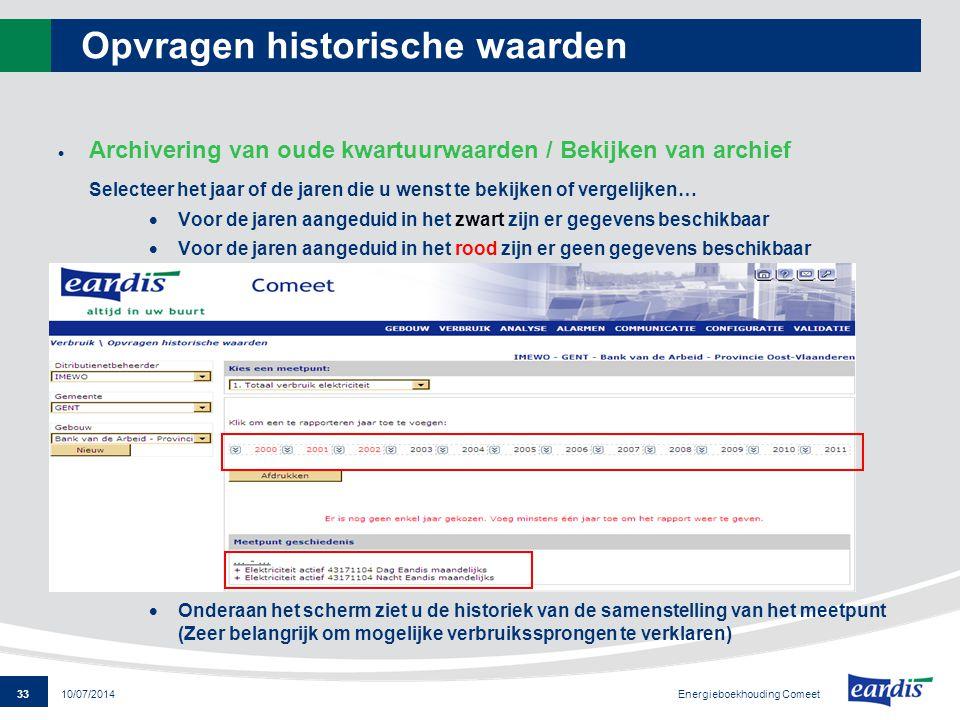33 Energieboekhouding Comeet 10/07/2014 Opvragen historische waarden  Archivering van oude kwartuurwaarden / Bekijken van archief Selecteer het jaar