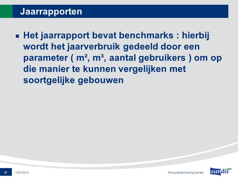 37 Energieboekhouding Comeet 10/07/2014 Jaarrapporten Het jaarrapport bevat benchmarks : hierbij wordt het jaarverbruik gedeeld door een parameter ( m