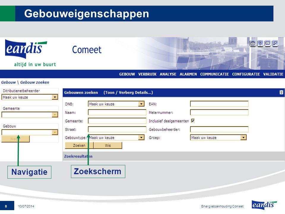 39 Energieboekhouding Comeet 10/07/2014 Jaarrapporten Per medium: - tabel - grafiek - conlusie