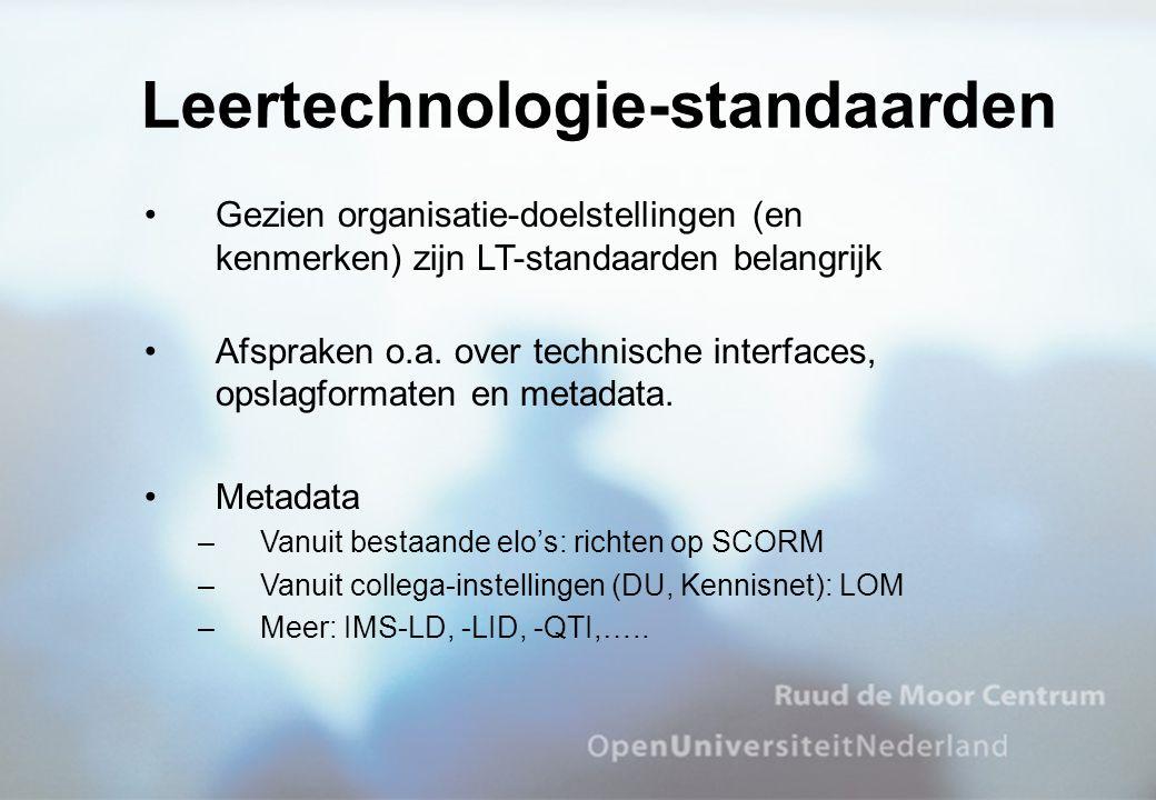 Gezien organisatie-doelstellingen (en kenmerken) zijn LT-standaarden belangrijk Afspraken o.a. over technische interfaces, opslagformaten en metadata.
