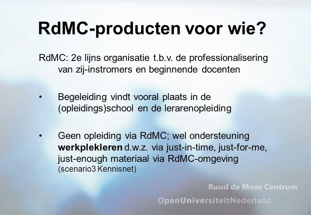 RdMC: 2e lijns organisatie t.b.v. de professionalisering van zij-instromers en beginnende docenten Begeleiding vindt vooral plaats in de (opleidings)s