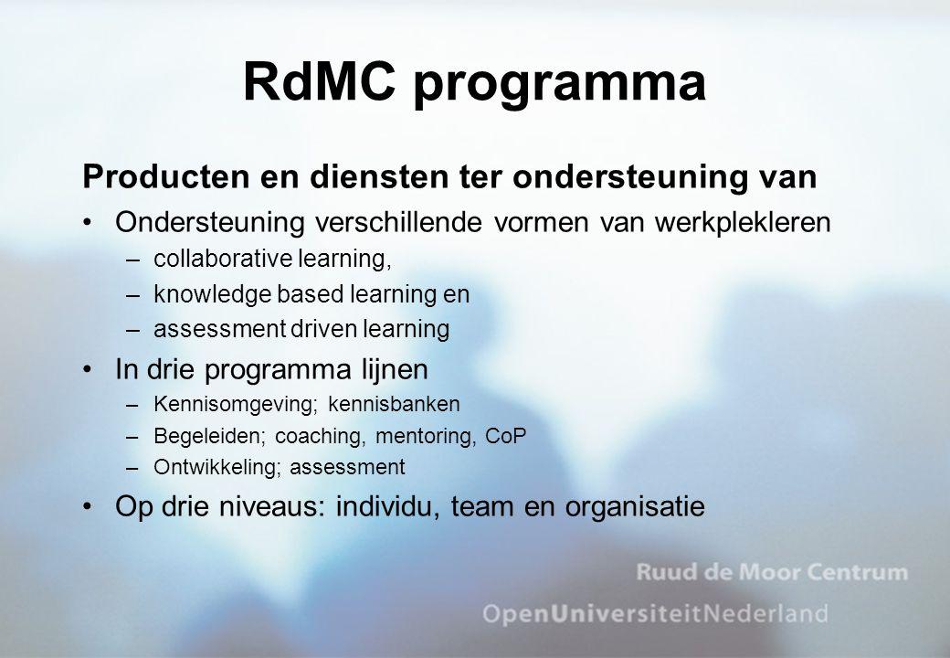 RdMC programma Producten en diensten ter ondersteuning van Ondersteuning verschillende vormen van werkplekleren –collaborative learning, –knowledge ba