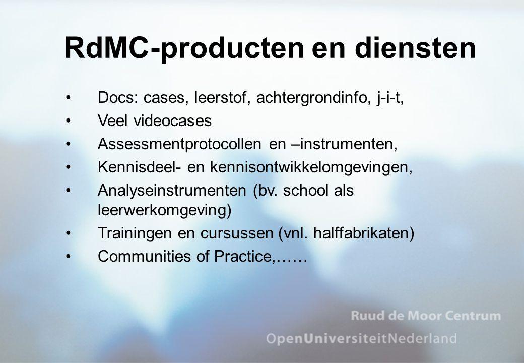 Docs: cases, leerstof, achtergrondinfo, j-i-t, Veel videocases Assessmentprotocollen en –instrumenten, Kennisdeel- en kennisontwikkelomgevingen, Analy