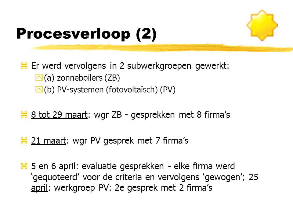 Procesverloop (2) zEr werd vervolgens in 2 subwerkgroepen gewerkt: y(a) zonneboilers (ZB) y(b) PV-systemen (fotovoltaïsch) (PV) z8 tot 29 maart: wgr ZB - gesprekken met 8 firma's z21 maart: wgr PV gesprek met 7 firma's z5 en 6 april: evaluatie gesprekken - elke firma werd 'gequoteerd' voor de criteria en vervolgens 'gewogen'; 25 april: werkgroep PV: 2e gesprek met 2 firma's