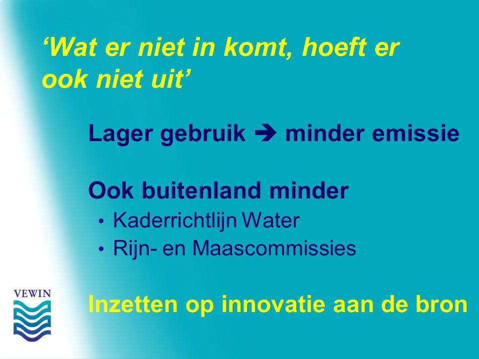 'Wat er niet in komt, hoeft er ook niet uit' Lager gebruik  minder emissie Ook buitenland minder Kaderrichtlijn Water Rijn- en Maascommissies Inzetten op innovatie aan de bron