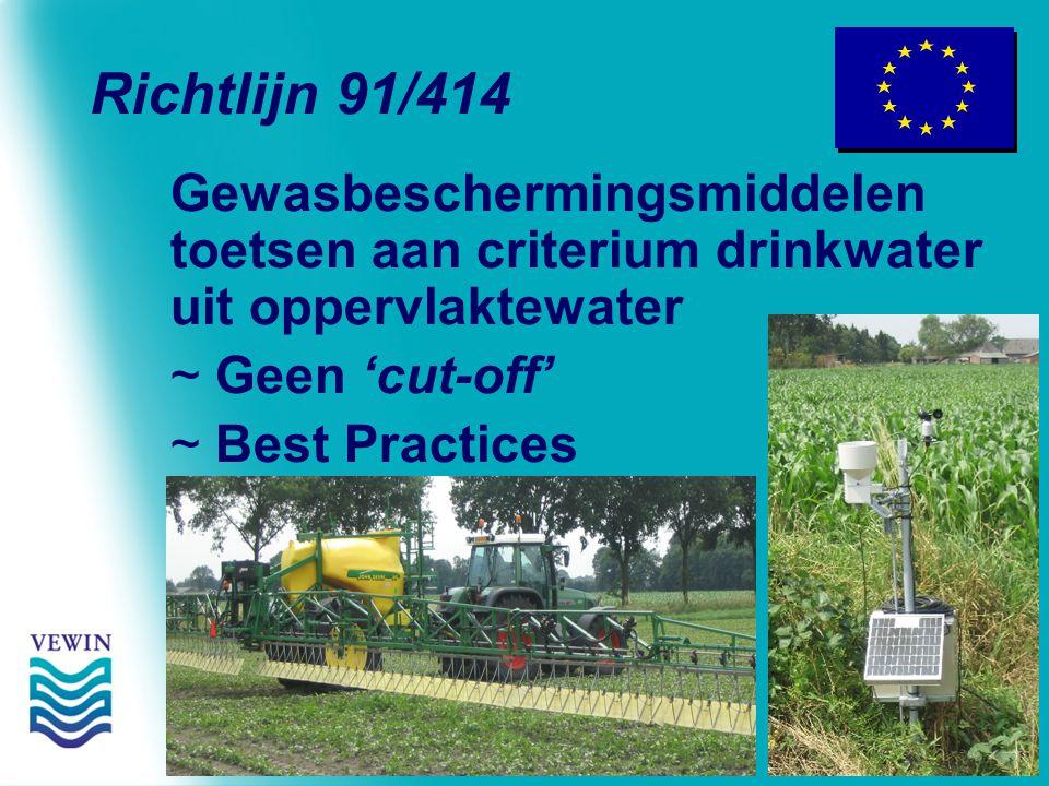 Richtlijn 91/414 Gewasbeschermingsmiddelen toetsen aan criterium drinkwater uit oppervlaktewater ~ Geen 'cut-off' ~ Best Practices