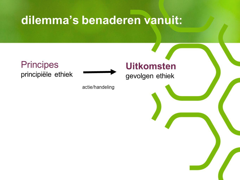 dilemma's benaderen vanuit: actie/handeling Principes principiële ethiek Uitkomsten gevolgen ethiek