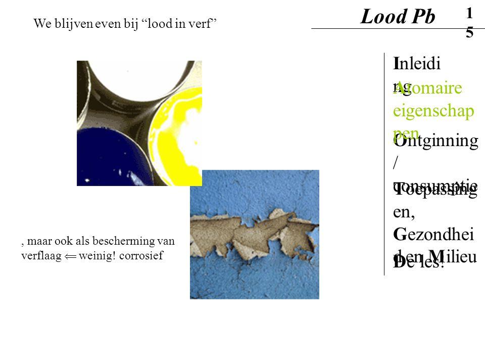 """Lood Pb15 Inleidi ng Ontginning / consumptie Atomaire eigenschap pen Toepassing en, Gezondhei d en Milieu De les! We blijven even bij """"lood in verf"""","""