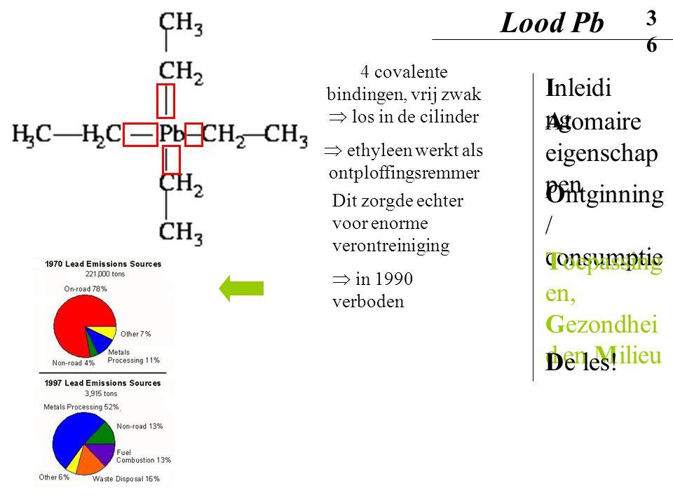 4 covalente bindingen, vrij zwak  los in de cilinder  ethyleen werkt als ontploffingsremmer Dit zorgde echter voor enorme verontreiniging  in 1990