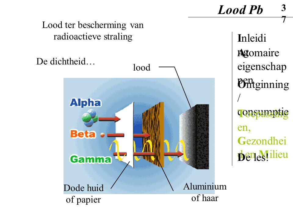 Lood ter bescherming van radioactieve straling De dichtheid… lood Dode huid of papier Aluminium of haar Lood Pb37 Inleidi ng Ontginning / consumptie A