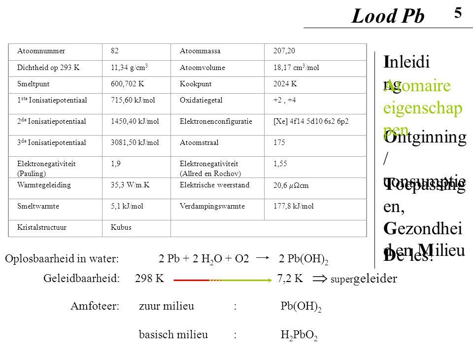 2 Pb + 2 H 2 O + O2 2 Pb(OH) 2 Oplosbaarheid in water: Geleidbaarheid:298 K7,2 K Amfoteer:zuur milieu: Pb(OH) 2 basisch milieu: H 2 PbO 2  super gele