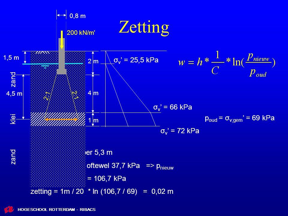 HOGESCHOOL ROTTERDAM - RIBACS Zetting 2 m 0,8 m 1,5 m 200 kN/m 4 m 1 m 2:1 4,5 m 0,8m + 4,5 m σ v ' = 25,5 kPa σ v ' = 66 kPa σ v ' = 72 kPa p oud = σ v;gem ' = 69 kPa Δσ' = 200 kN/m per 5,3 m Δσ' = 37,7 kN/m 2 oftewel 37,7 kPa => p nieuw p nieuw = 37,7 + 69 = 106,7 kPa zetting = 1m / 20 * ln (106,7 / 69) = 0,02 m zand klei