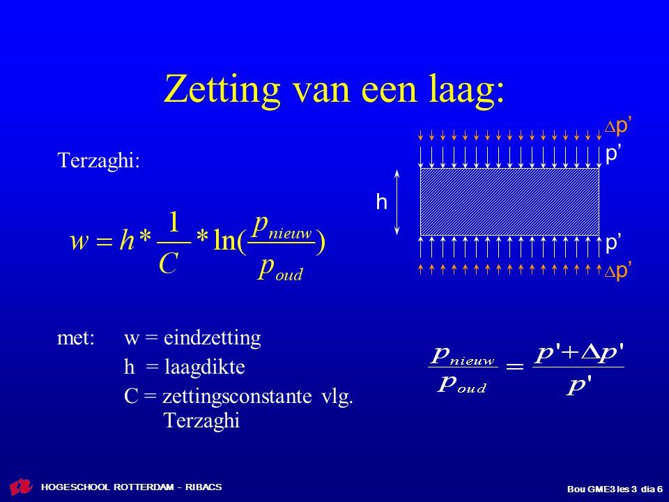 HOGESCHOOL ROTTERDAM - RIBACS Bou GME3 les 3 dia 17 0 -2 -5 -12 -15 -25  droog = 17 kN/m 3  nat = 19 kN/m 3  nat = 16 kN/m 3  nat = 11 kN/m 3  nat = 20 kN/m 3  [ kPa = kN/m 2 ] 100200 300 400  v = -2  v;gem = 82+34 = 116 kPa  v;gem = 104,5 +34= 138,5 kPa  v = 2*17 = 34 kPa 68 - 0 = 68 kPa 125 - 30 = 95 237 - 100 = 137 270 - 130 = 140 Nieuwe situatie: korrelspanningen  v '