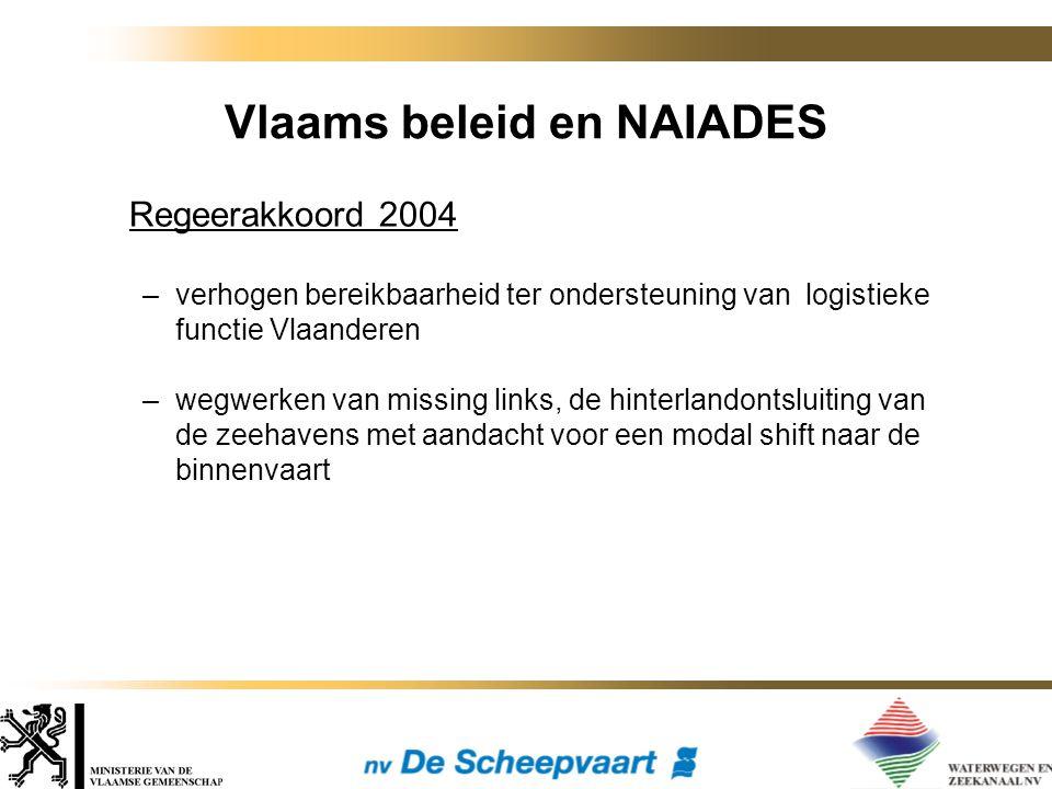 Vlaams beleid en NAIADES Regeerakkoord 2004 –verhogen bereikbaarheid ter ondersteuning van logistieke functie Vlaanderen –wegwerken van missing links, de hinterlandontsluiting van de zeehavens met aandacht voor een modal shift naar de binnenvaart