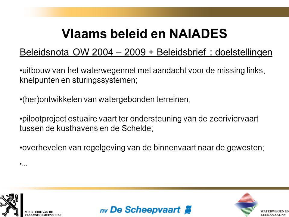 Vlaams beleid en NAIADES Beleidsnota OW 2004 – 2009 + Beleidsbrief : doelstellingen uitbouw van het waterwegennet met aandacht voor de missing links,