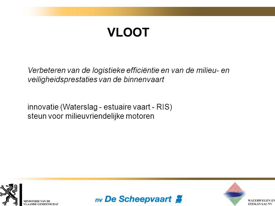 VLOOT Verbeteren van de logistieke efficiëntie en van de milieu- en veiligheidsprestaties van de binnenvaart innovatie (Waterslag - estuaire vaart - RIS) steun voor milieuvriendelijke motoren