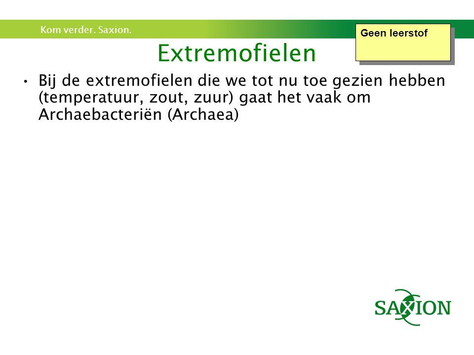 Kom verder. Saxion. Extremofielen Bij de extremofielen die we tot nu toe gezien hebben (temperatuur, zout, zuur) gaat het vaak om Archaebacteriën (Arc