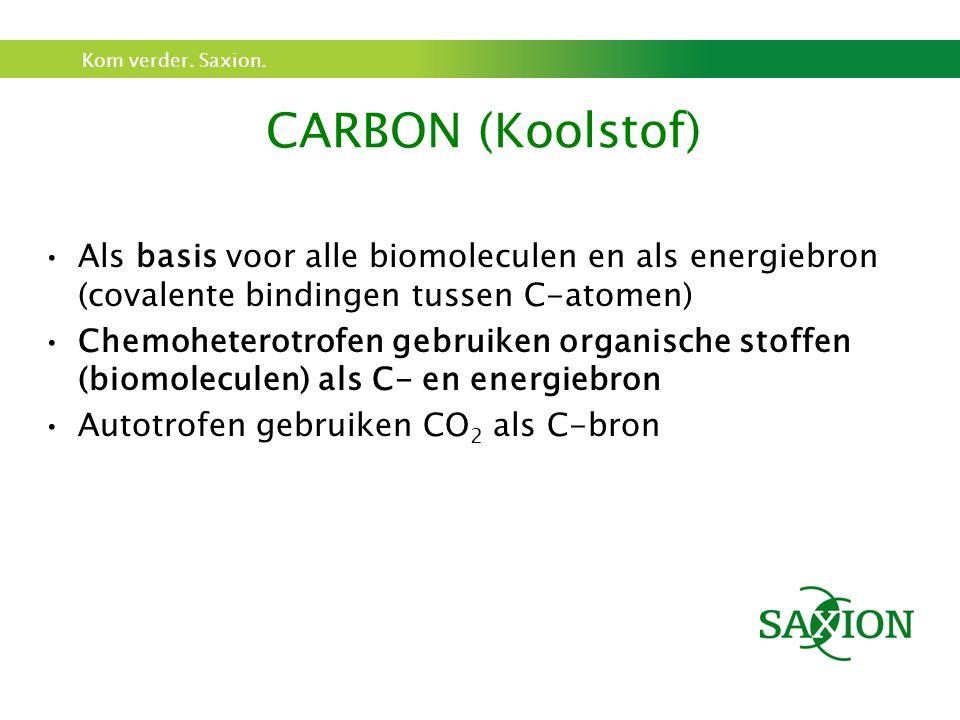 Kom verder. Saxion. Als basis voor alle biomoleculen en als energiebron (covalente bindingen tussen C-atomen) Chemoheterotrofen gebruiken organische s