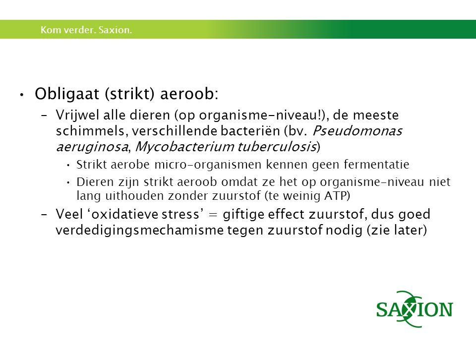 Kom verder. Saxion. Obligaat (strikt) aeroob: –Vrijwel alle dieren (op organisme-niveau!), de meeste schimmels, verschillende bacteriën (bv. Pseudomon
