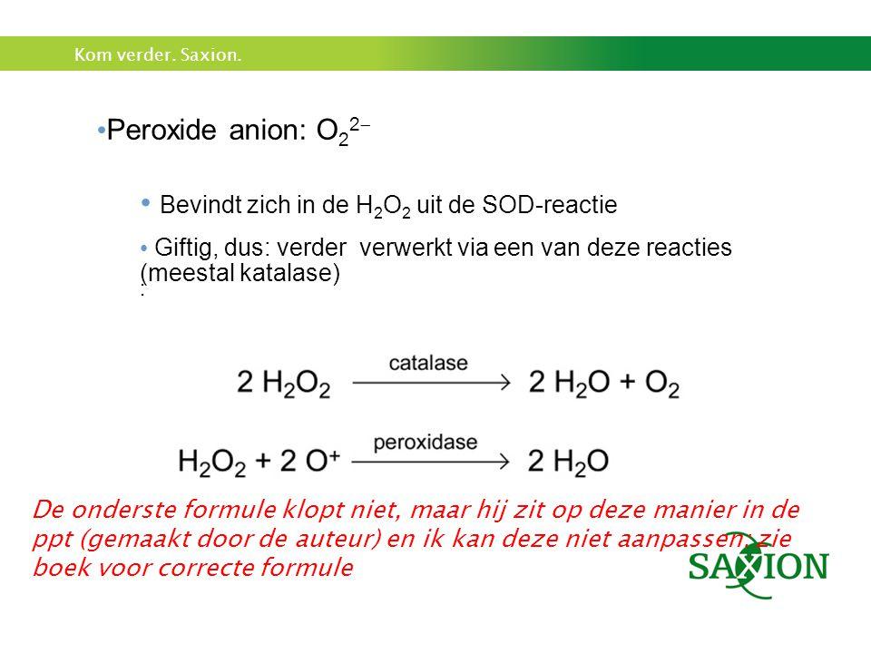 Kom verder. Saxion. Peroxide anion: O 2 2  Bevindt zich in de H 2 O 2 uit de SOD-reactie Giftig, dus: verder verwerkt via een van deze reacties (mees