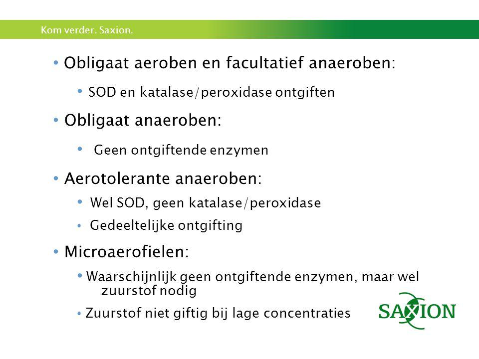 Kom verder. Saxion. Obligaat aeroben en facultatief anaeroben: SOD en katalase/peroxidase ontgiften Obligaat anaeroben: Geen ontgiftende enzymen Aerot