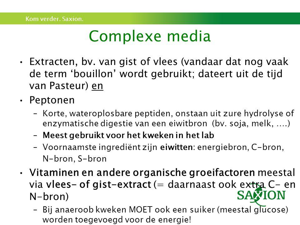 Kom verder. Saxion. Complexe media Extracten, bv. van gist of vlees (vandaar dat nog vaak de term 'bouillon' wordt gebruikt; dateert uit de tijd van P